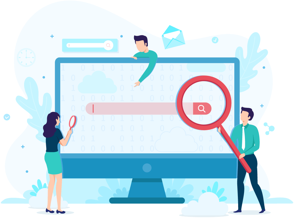 SEO people searching on computer illustration