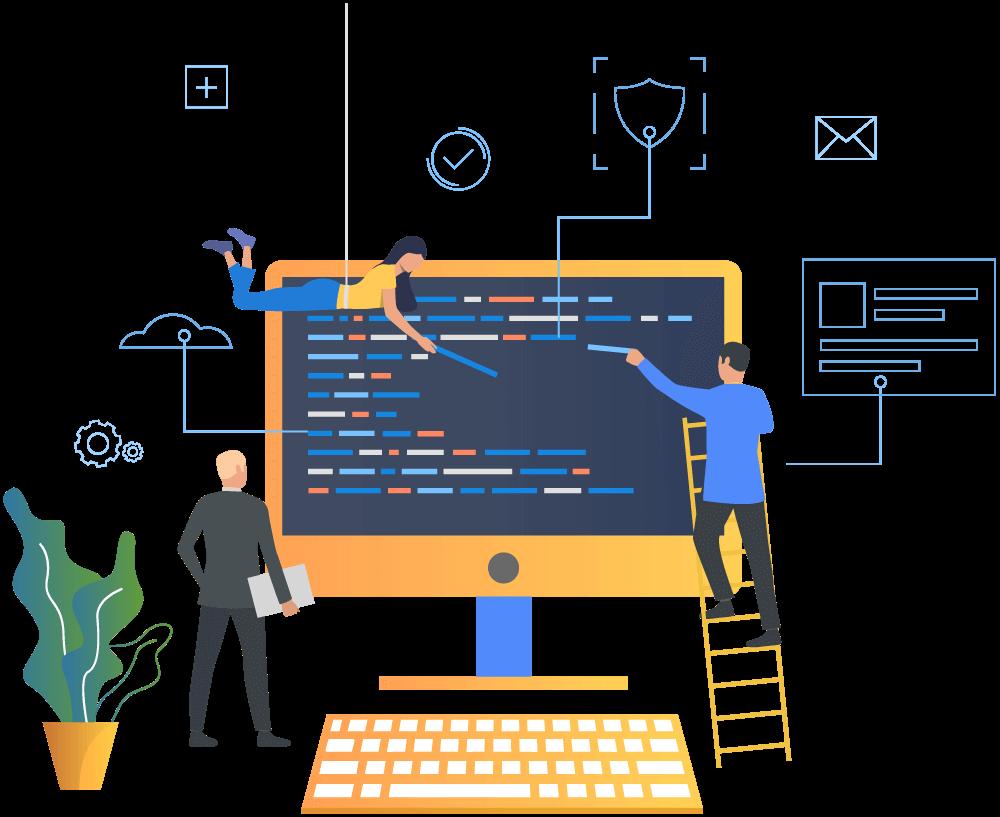 Web development and web design illustration