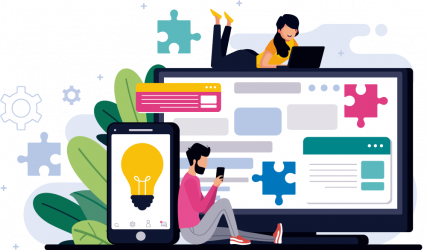 Custom website design and website development illustration
