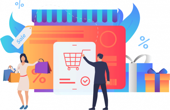 eCommerce with checking out and sales illustration