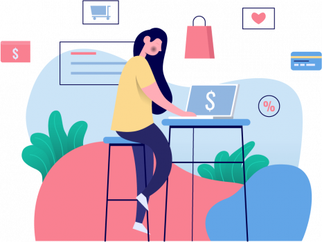 Ecommerce person shopping online illustration