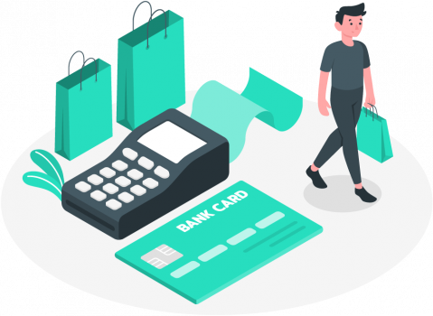 Ecommerce web design and online payment processing illustration