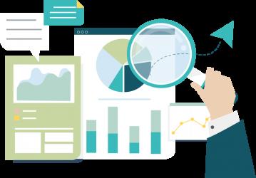 Reporting, analytics, and optimization illustration